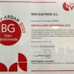 Gráficas Mera logra el indicador Ardán de Empresa Bien Gestionada 2020