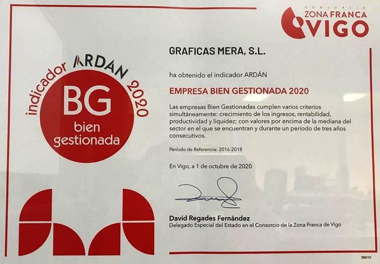 Indicador Ardán Empresa Ben Xestionada 2020